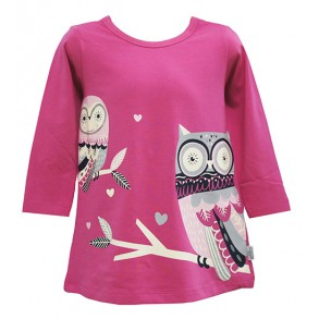 OWL PRINTED DRESS FOR GIRLS (PINK)