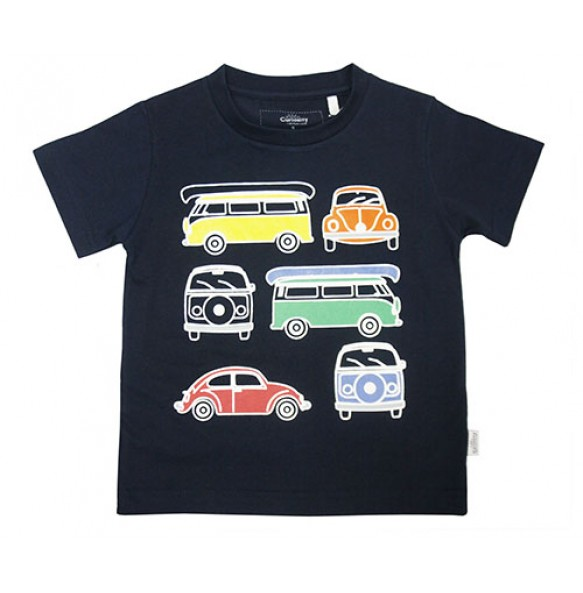 4D VINTAGE BUS AUGMENTED REALITY T-SHIRT FOR BOYS (NAVY)