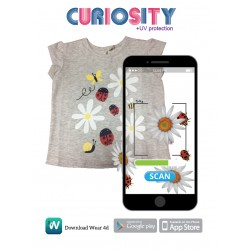 4D ENCHANTED GARDEN AUGMENTED REALITY TSHIRT FOR GIRLS (GREY)