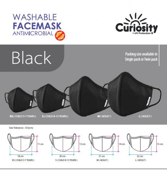 Washable Face Mask Antimicrobial with Adjustable Stopper and Nose Bridge - Single Pack